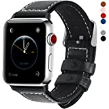 Fullmosa Leather Watch Band Compatible for Apple Watch 38mm 40mm 42mm 44mm, Leather Strap Replacement Bracelet for iWatch Series 5/4/3/2/1