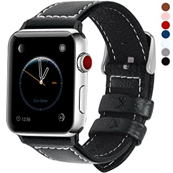 Fullmosa LC-Jan Cuero Correa, 7 Colores Correa Compatible Apple Watch/iWatch Series 5, Series 4, Series 3, Series 2, Series 1, 38mm, 42mm, Negro 42mm