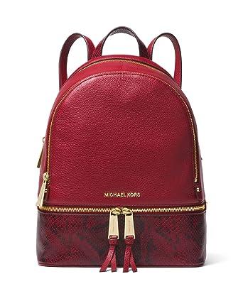 7b4a173b634c Amazon.com | Michael Kors Rhea Medium Leather Backpack (Maroon/Snake) |  Casual Daypacks
