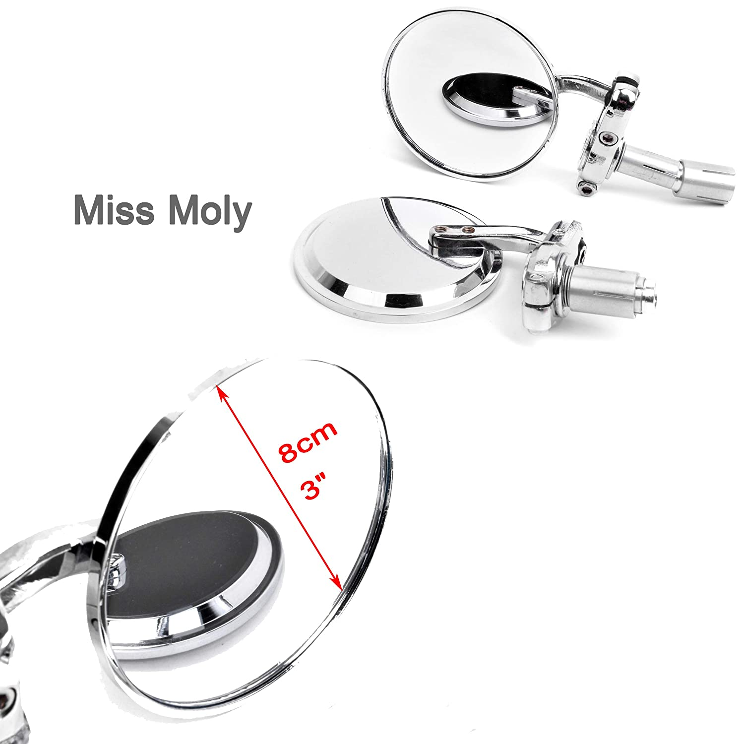Black Motorcycle Rear View Side Mirror 7//8 22mm Round Bar End Mirrors For Cruiser Scooter Chopper