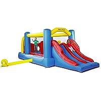 PLAY4FUN Château Gonflable : Aire de Jeux Gonflable avec Mur d'obstacles et Double Toboggan - Surface de Jeux : 560 x 255 x 190 cm - Wipe Out