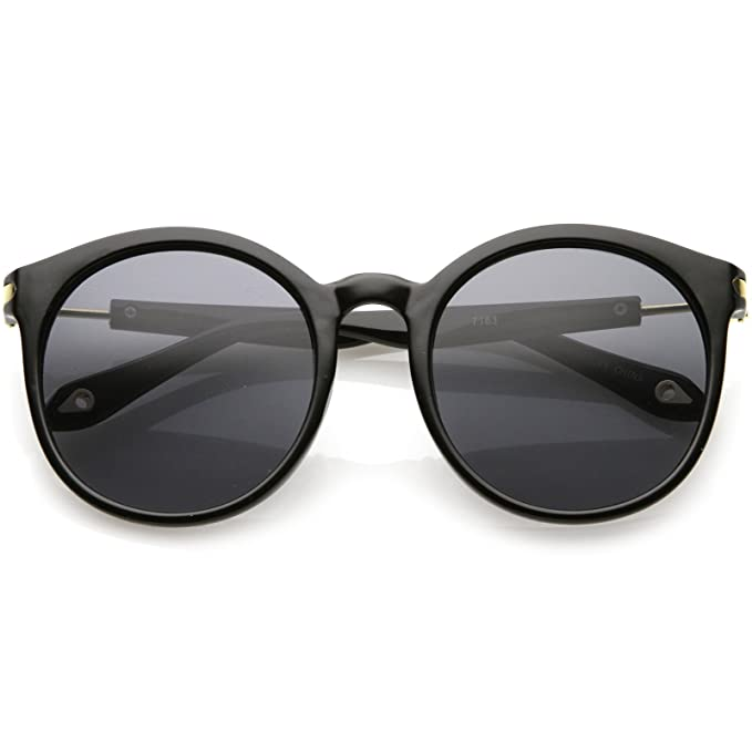 f32b9568b sunglassLA - Classic Horn Rimmed Round Sunglasses Metal Arm Detail Neutral  Colored Lens 53mm (Black