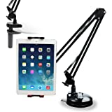 Sagetec Tablet Holder, Two Mounting Options, 360 Rotation, Heavy Duty Iron Arm, Holder Mount Stand for iPad, iPhone, Kindle Fire and More