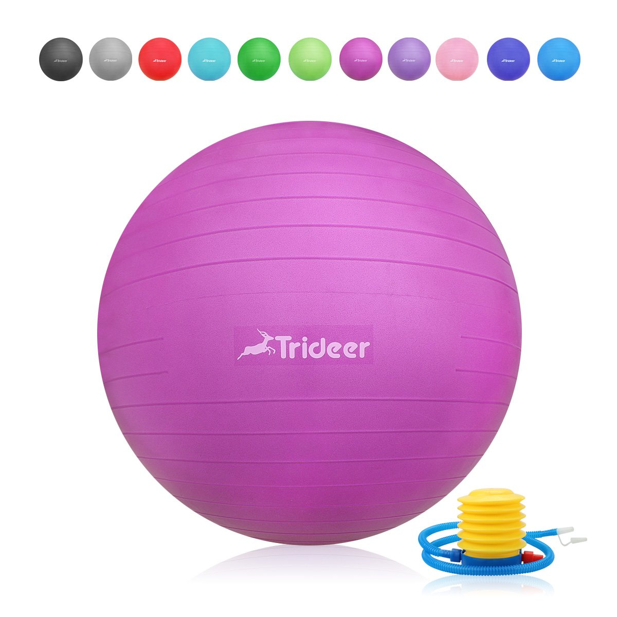 Trideer Exercise Ball, Yoga Ball, Birthing Ball with Quick Pump, Anti-Burst & Extra Thick, Heavy Duty Ball Chair, Stability Ball Supports 2200lbs (Office&Home) (Fuchsia, S (38-45cm))