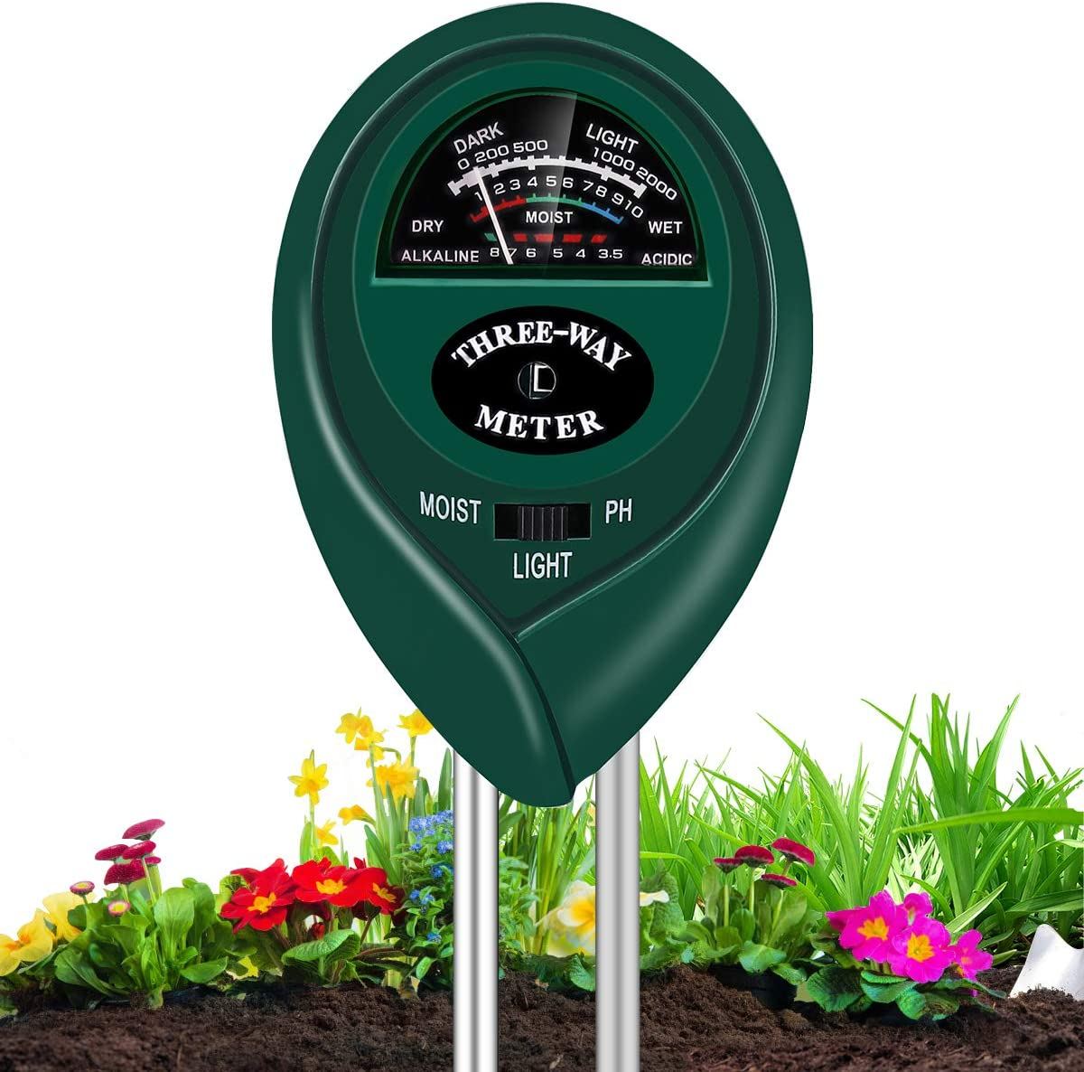 Soil Moisture Meter, 3 in 1 Soil pH Tester & Light Monitor Kits for Garden, Lawn, Indoor & Outdoor Plant Care, No Battery Needed, Green