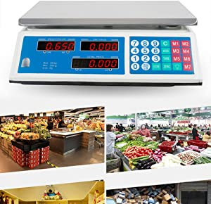 Zinnor Digital Electronic Weight Scale 30KG/66LB Price Computing Food Scale Meat Produce Indutrial Counting For Kitchen Stores Restaurant Market Farmer 3-5 Days for Delivery