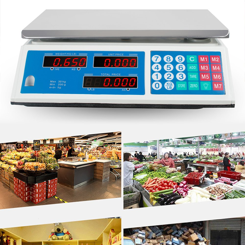Zinnor Digital Electronic Weight Scale 30KG Price Computing Food Meat Produce Indutrial Counting For Kitchen Stores Restaurant Market Farmer 3-5 Days for Delivery