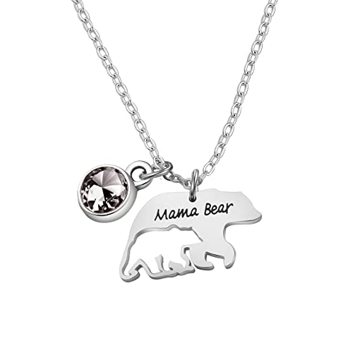52529c1fcff Zuo Bao Mama Bear Necklace Mom Necklace Mama and Baby Bear Necklace with 12  Months Birthstone