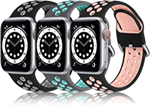 Nofeda Compatible with Apple Watch Band 44mm 42mm for Women Men, Waterproof Breathable Silicone Sport Watch Band for iWatch SE Series 6 5 4 3 2 1, M/L