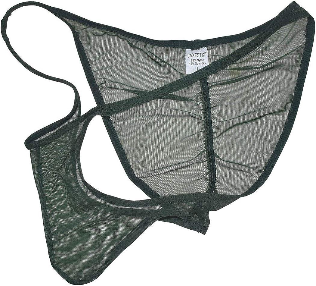 JAXFSTK Men Slinky Brazilain Bikini Briefs Underwear Ruched Back Sheer Cheeky Briefs