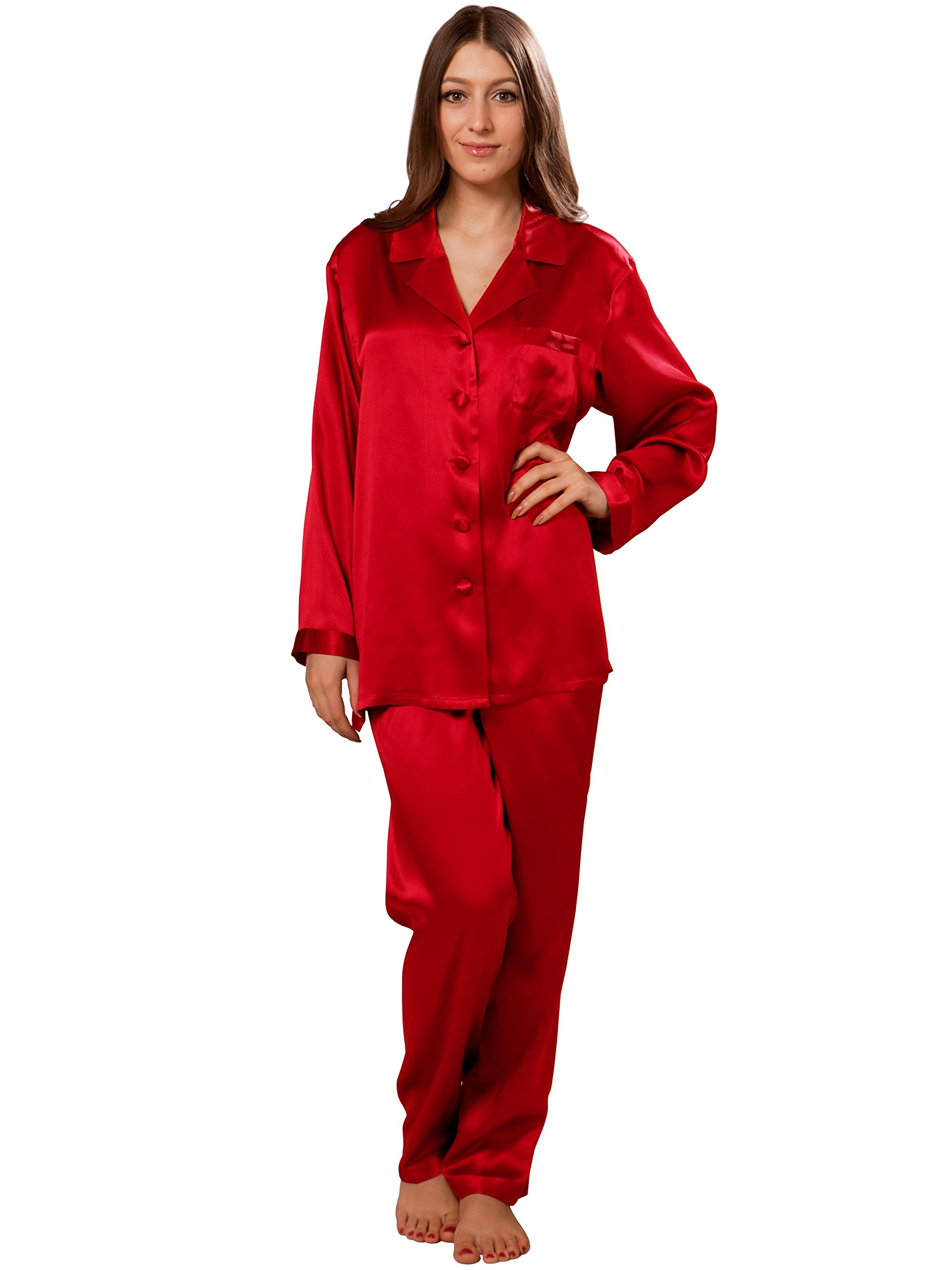 ElleSilk Pajamas For Women, Long Sleeve Silk Sleepwear, Premium Quality Mulberry Silk, Cherry, S