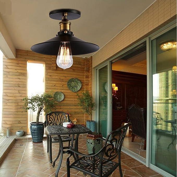 LEDMOMO L/ámpara de techo del metal del montaje enrasado industrial retro de la luz de techo para la barra del comedor de la cocina Office sin el bulbo