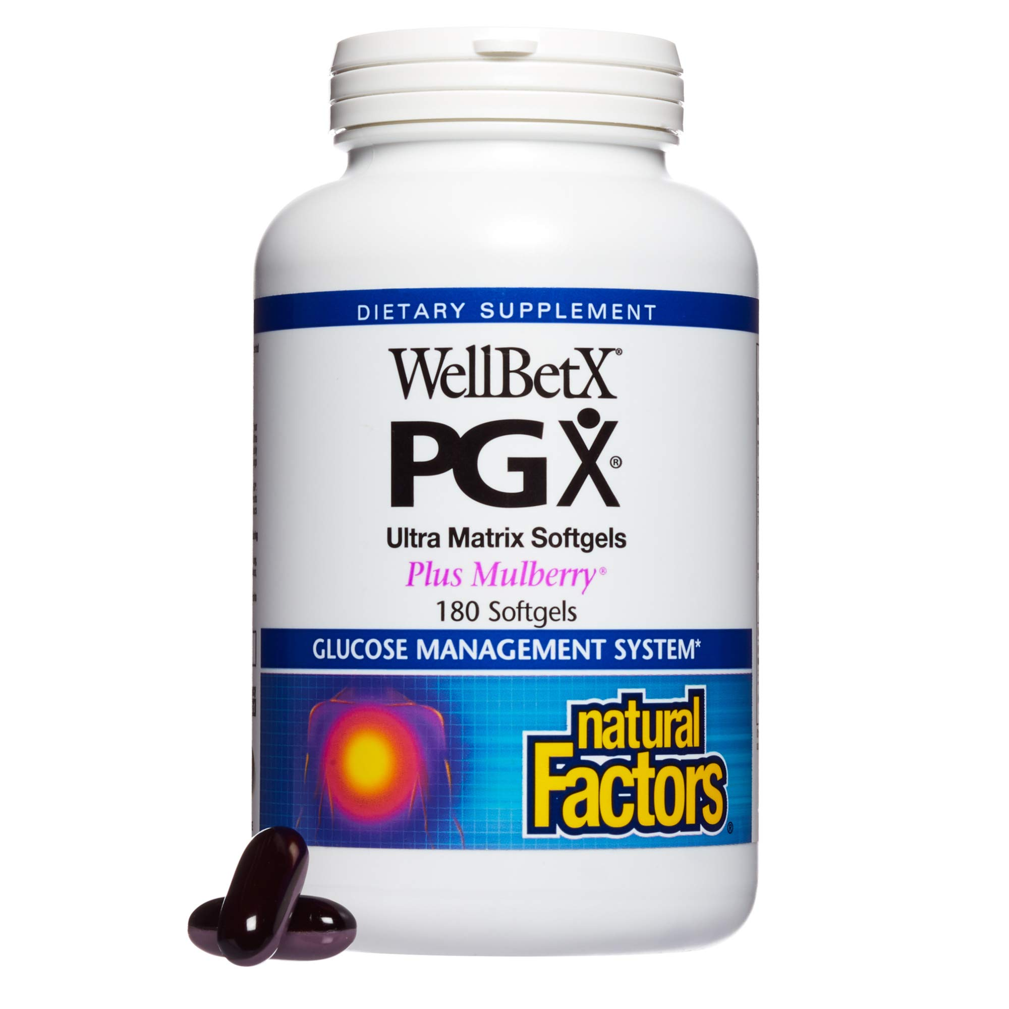 PGX by Natural Factors, WellBetX Ultra Matrix Plus Mulberry, Supports Healthy Weight Management and Helps Reduce Appetite, 180 softgels (90 servings) by Natural Factors