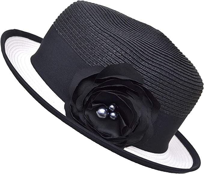1950s Women's Hat Styles & History Nine West Womens Black Packable Boater Hat with Flower $25.00 AT vintagedancer.com