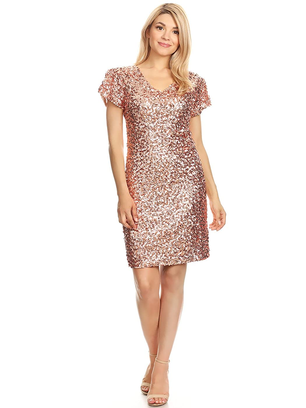 842ccb89c Anna-Kaci Sexy Short Sleeve Sequin Bodycon Mini Cocktail Party Club Dress,  XL, Rose Gold: Amazon.co.uk: Clothing