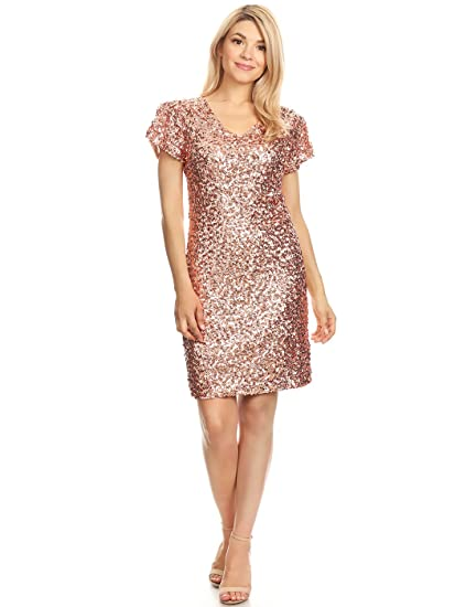 Anna-Kaci Sexy Short Sleeve Sequin Bodycon Mini Cocktail Party Club Dress