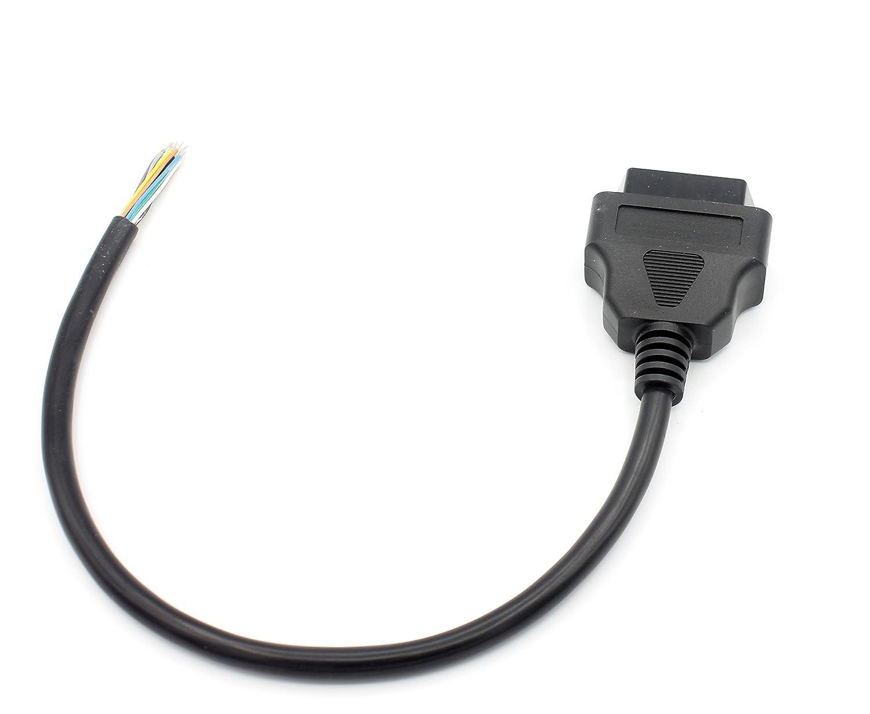 0,3 Meter OBD2 Buchse 16 Pin Round Verl/ängerung Stecker Diagnosekabel LoongGate OBD-II 16 Pin zu Ende offenen Stecker Draht