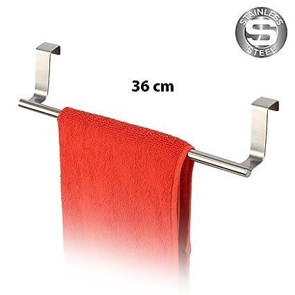 HOKIPO® Stainless Steel Kitchen Towel Holder Cabinet Door Hook (36 cm)
