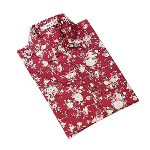 XueXian(TM) Mujer de Ocio Camisa con Patrón de Flores de Rojo Cereza Rojas Brillantes