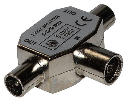 AERZETIX: Conector acoplador de conexion divisor FMM min 5MHz max 1000MHz antena tv 9.8mm