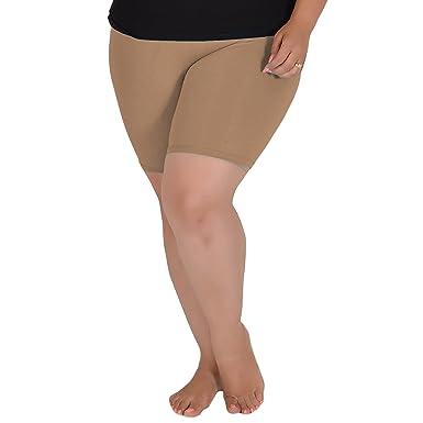 d8e5c777f11708 Stretch is Comfort Women's Cotton Plus Size Bike Shorts Beige X-Large