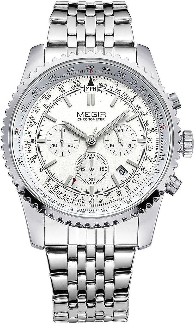 MEGIR Relojes para Hombre Plata, Reloj Grandes Esfera, Relojes Deportivo Acero Inoxidable Silver con Calendario Reloj de Pulsera de Cuarzo para Hombres, Resistente al Agua