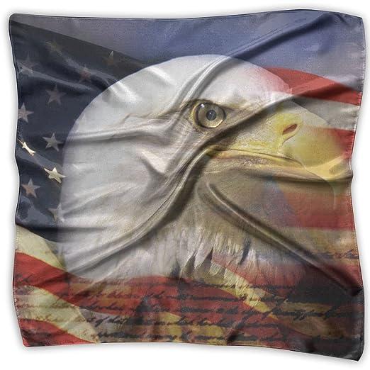 Women Lady Us Flag Eagle Wallpaper Print Square Kerchief Scarf Head Wrap Neck Satin Shawl