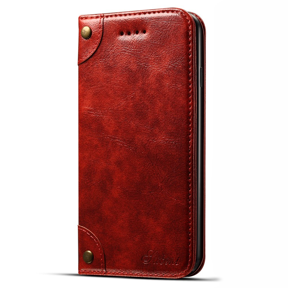 Leather Wallet Phone Case Stand View Book Style Red Cover