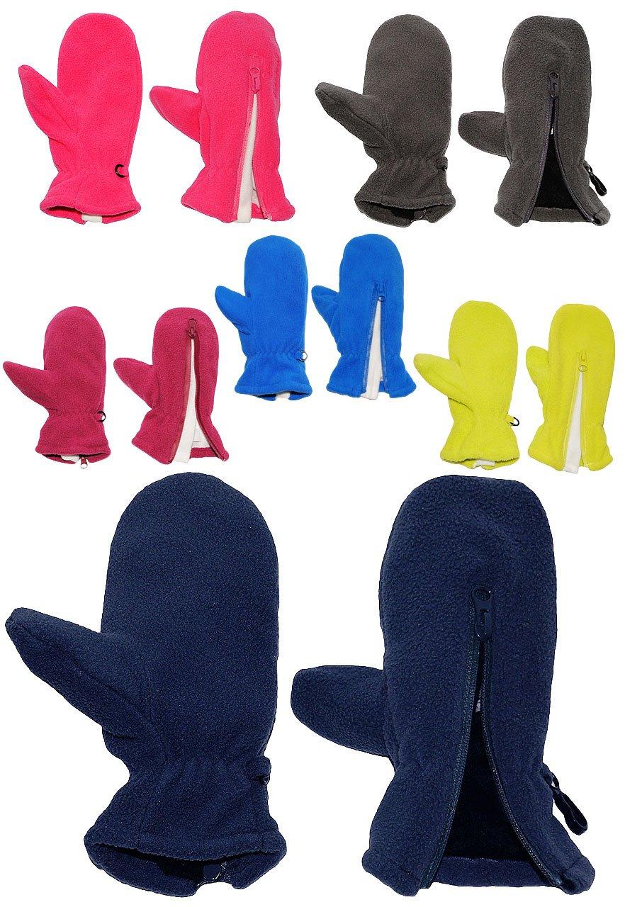 alles-meine.de GmbH Fausthandschuhe - Fleece - mit Reißverschluß - Größe: 1 bis 2 Jahre - hellblau / Enzian blau - LEICHT anzuziehen ! mit Daumen - Fleecehandschuhe / Kinder ..