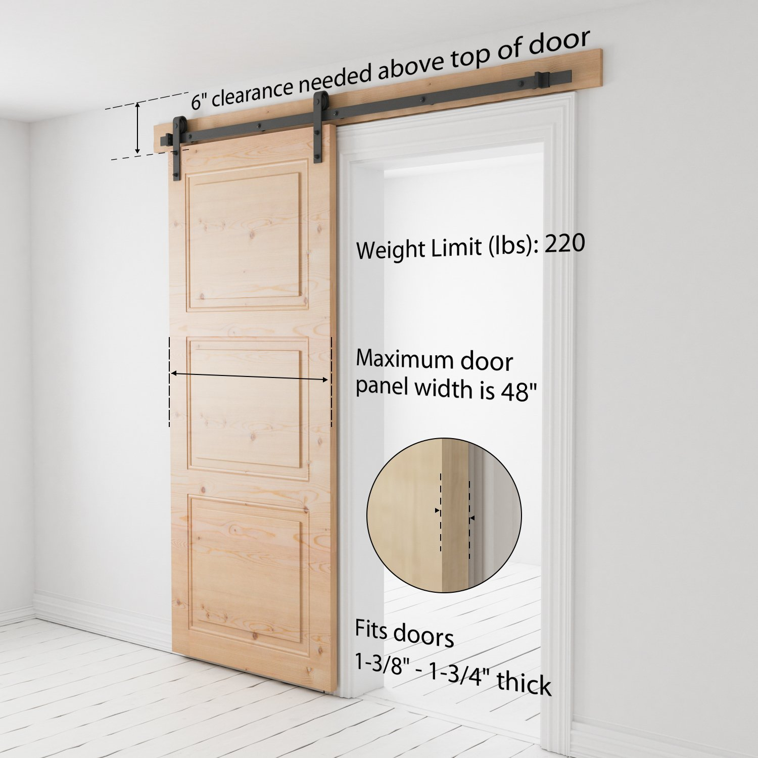SMARTSTANDARD SDH-0080-STANDARD-BK Heavy Duty Sturdy Sliding Barn Door Hardware Kit, 8' SingleRail,Super Smoothly and Quietly, Simple and Easy to Install, Fit 42-48'' Wide DoorPanel by SMARTSTANDARD (Image #2)