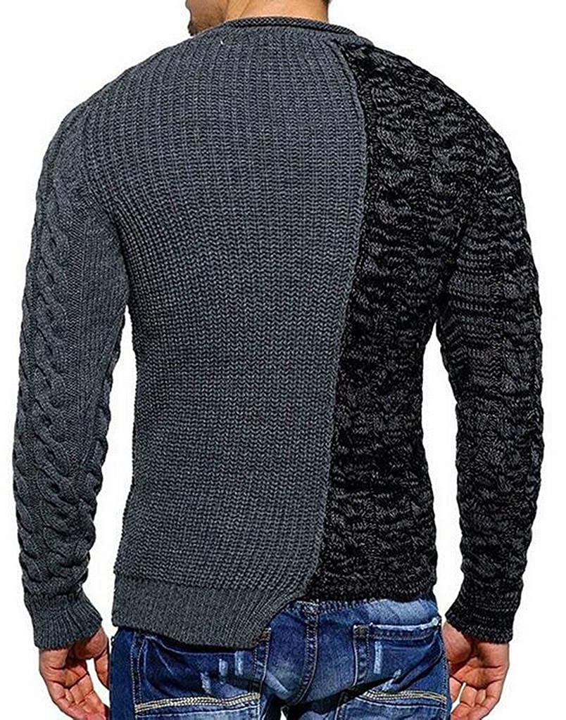 Fubotevic Men Twist Knitting Contrast Stylish Slim Fit Pullover Sweaters Jumper