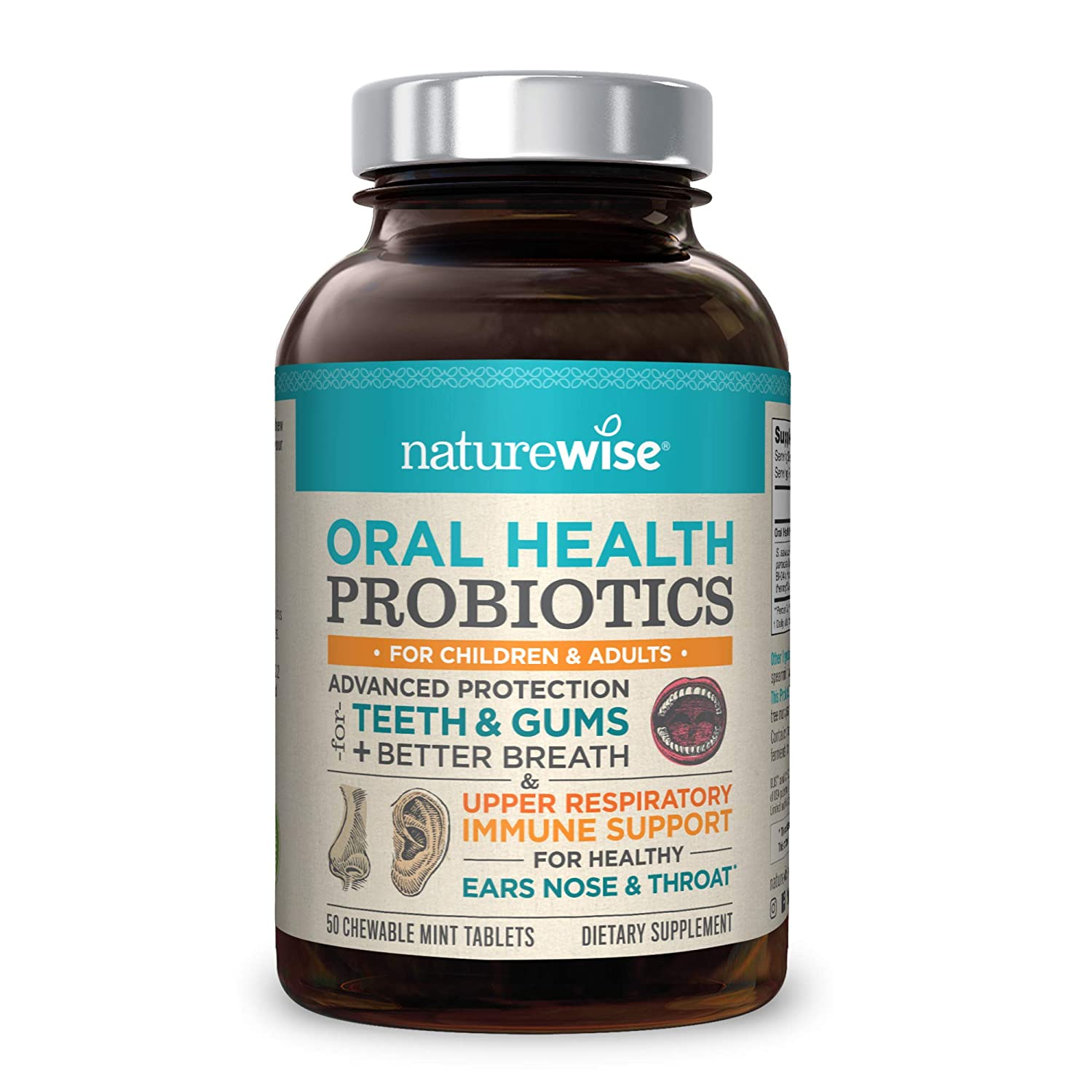 NatureWise Oral Health Chewable Probiotics | Supports Healthy Teeth, Gums,  Better Breath | Ear,