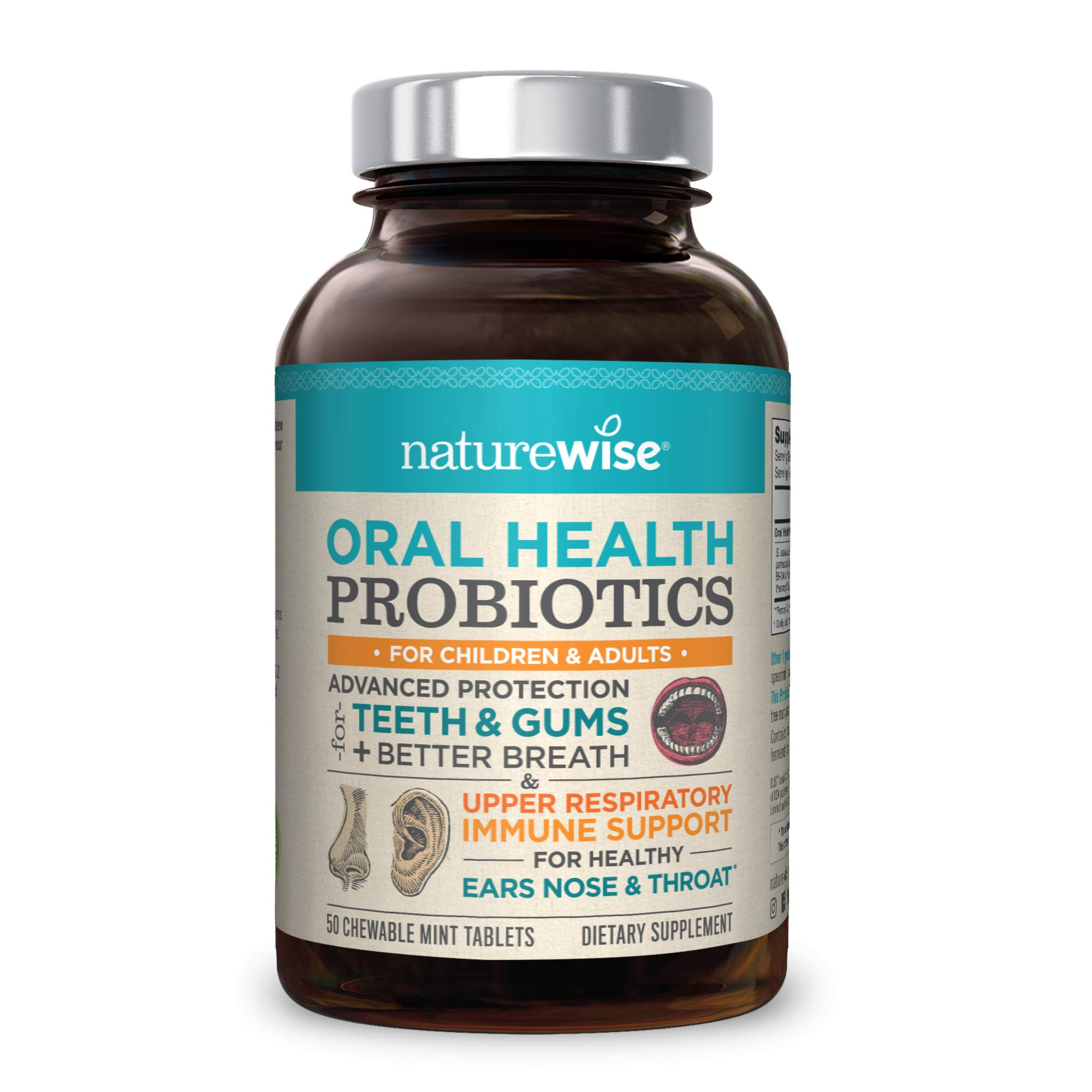 NatureWise Oral Health Chewable Probiotics | Supports Healthy Teeth, Gums, Better Breath | Ear, Nose, Throat Immunity for Kids & Adults | Sugar-Free Natural Mint Flavor [2 Month Supply - 50 Tablets] by NatureWise