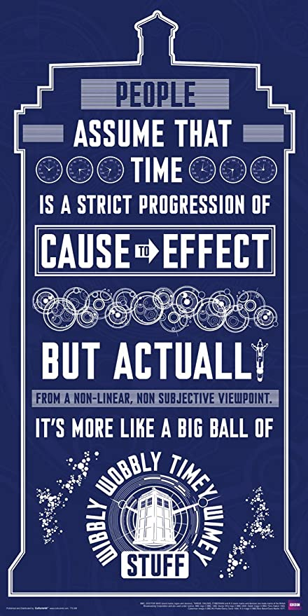 Culturenik Doctor Who Wibbly Wobbly Timey Wimey Quote Tardis Blue Illustration Sci Fi British TV Television Show Print (Unframed 12x24 Poster)