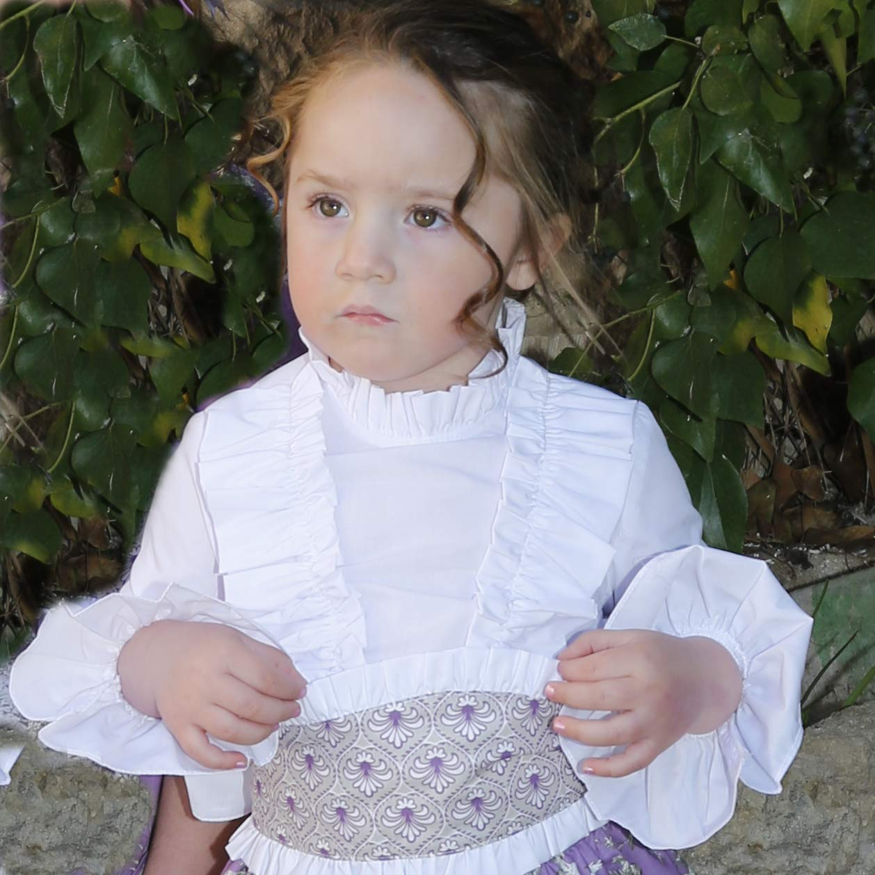 Camisa Blanca con Volantes Godettia Fabricado en Espa/ña