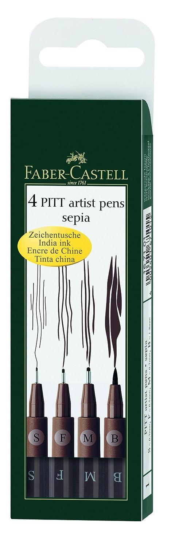 Faber-Castell Pitt Artist Pen Wallet Sepia (4 Sizes) FaberCastell F167101 Artykuly papiernicze