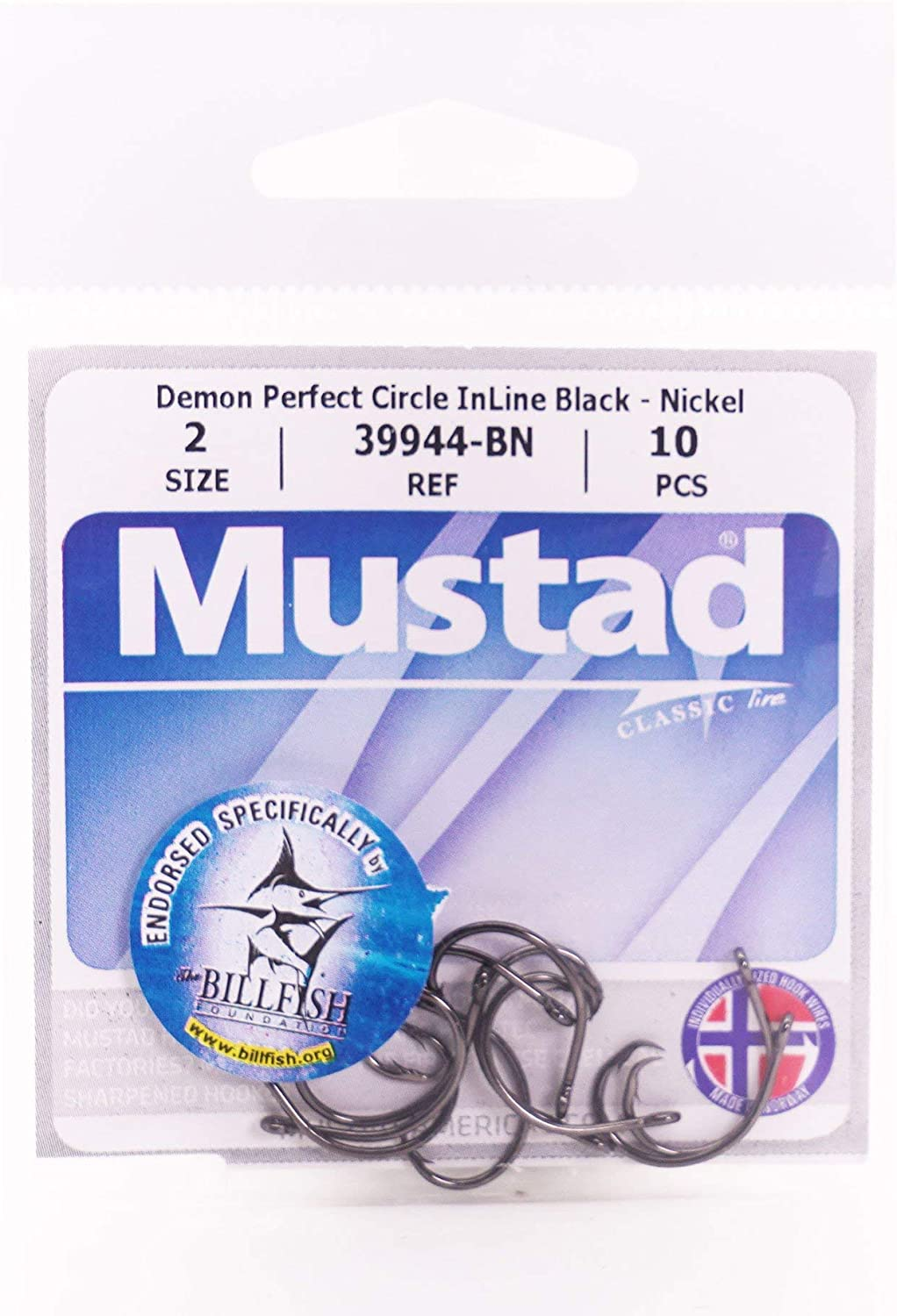 Mustad Classic 39944 Standard Wire Demon Perfect in Line Wide Gap Circle Hook Catfish Saltwater Freshwater Hooks for Tuna Bass and More
