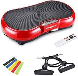 Vibration Platform Exercise Machine, Whole Body Vibration Fitness Plate with Remote Control and Resistance Bands for Weight Loss Toning
