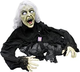 Halloween Haunters 5' Animated Creepy Crawling Evil Zombie Witch Prop Decoration - Head Turns, Cackle Laughs, Speaks, Light Up Eyes - Battery Operated
