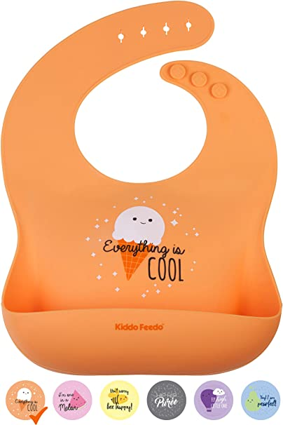 Baby Waterproof Leak Prevention Soft Silicone Bibs Feeding Food Catcher UK