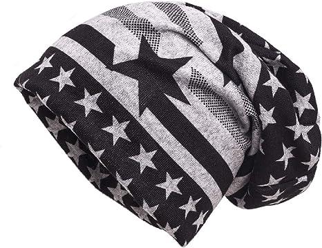 shenky - Gorro caído de Punto - Gris y Negro con la Bandera de Estados Unidos: Amazon.es: Ropa y accesorios