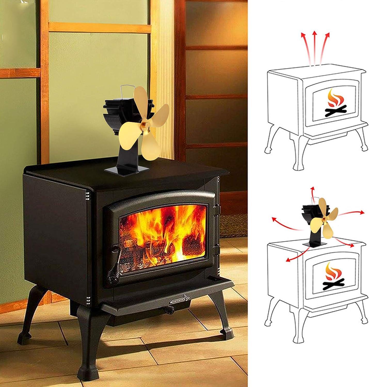 Ventilador Estufa Le/ña Arranque R/ápido con Detecci/ón Autom/ática 4 Aspas 1000RPM Estufa de Chimenea Aire Caliente Circulante para Le/ña//Quemador Le/ña//Chimenea Ventilador de Estufa con Energ/ía T/érmica