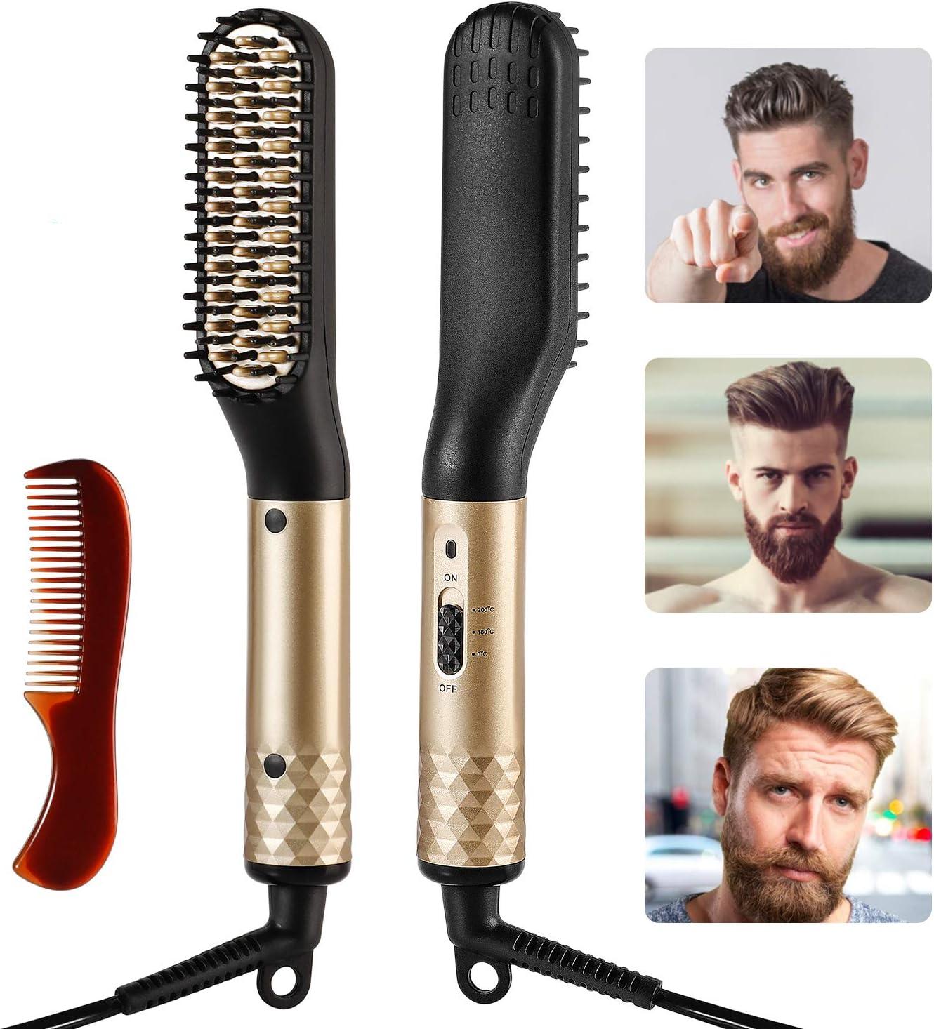 Ato Bea Barba Cepillo Alisador de Pelo, Profesional Eléctrico Multifuncional Anti-escaldado Beard Straightener con 2 Temperatura Ajustable, Plancha de Pelo Rápida Para Barbas y Cabellos