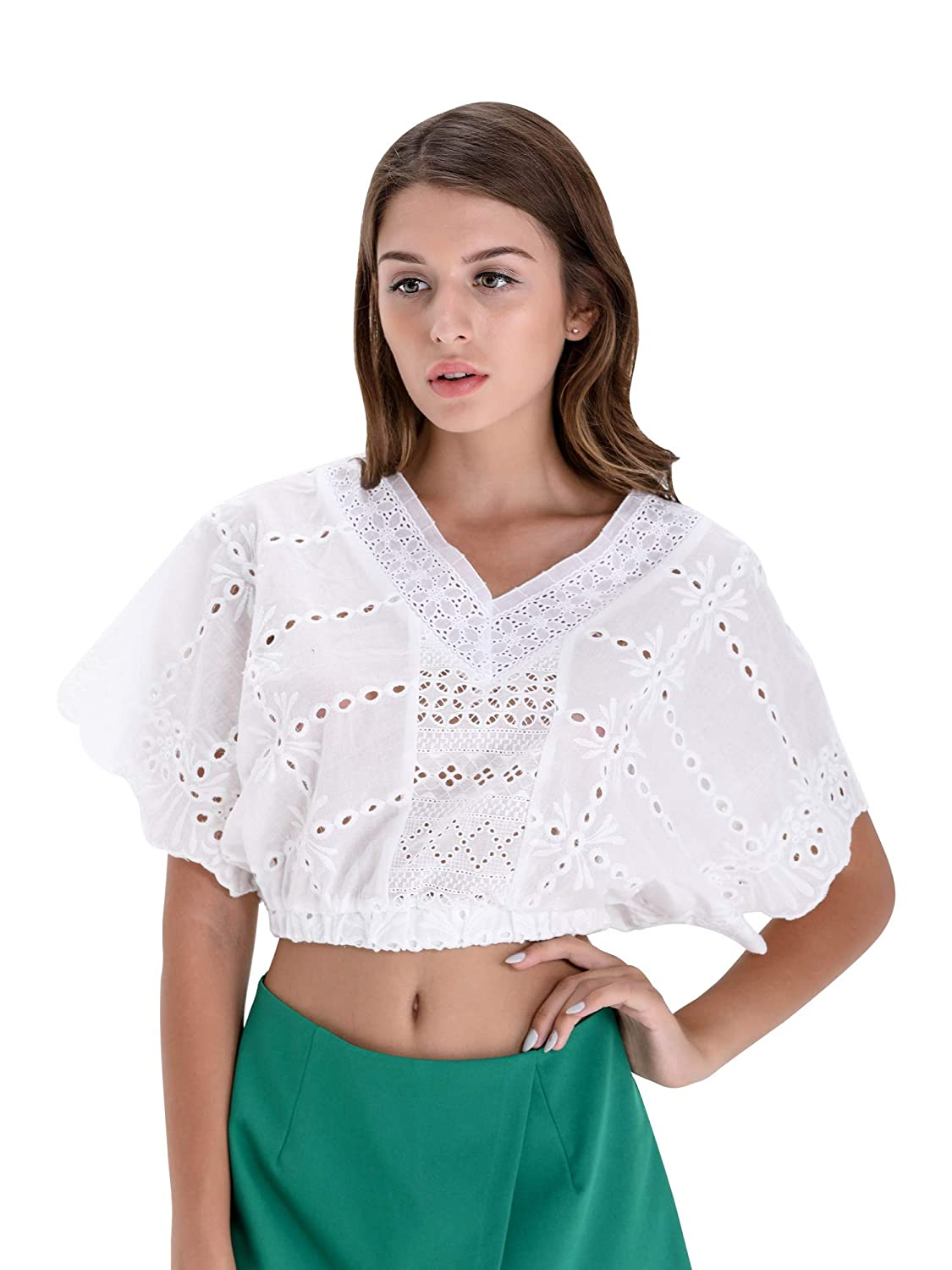 d654108af1613 BARGOOS Women's Summer Off Shoulder Lace Floral Elastic 3/4 Sleeves Sexy  Strapless Midriff Crop Tops White at Amazon Women's Clothing store: