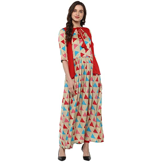 e7cdb8e20 Maa Collection Women s Dress Material(Beige Red Beige Large)  Amazon ...