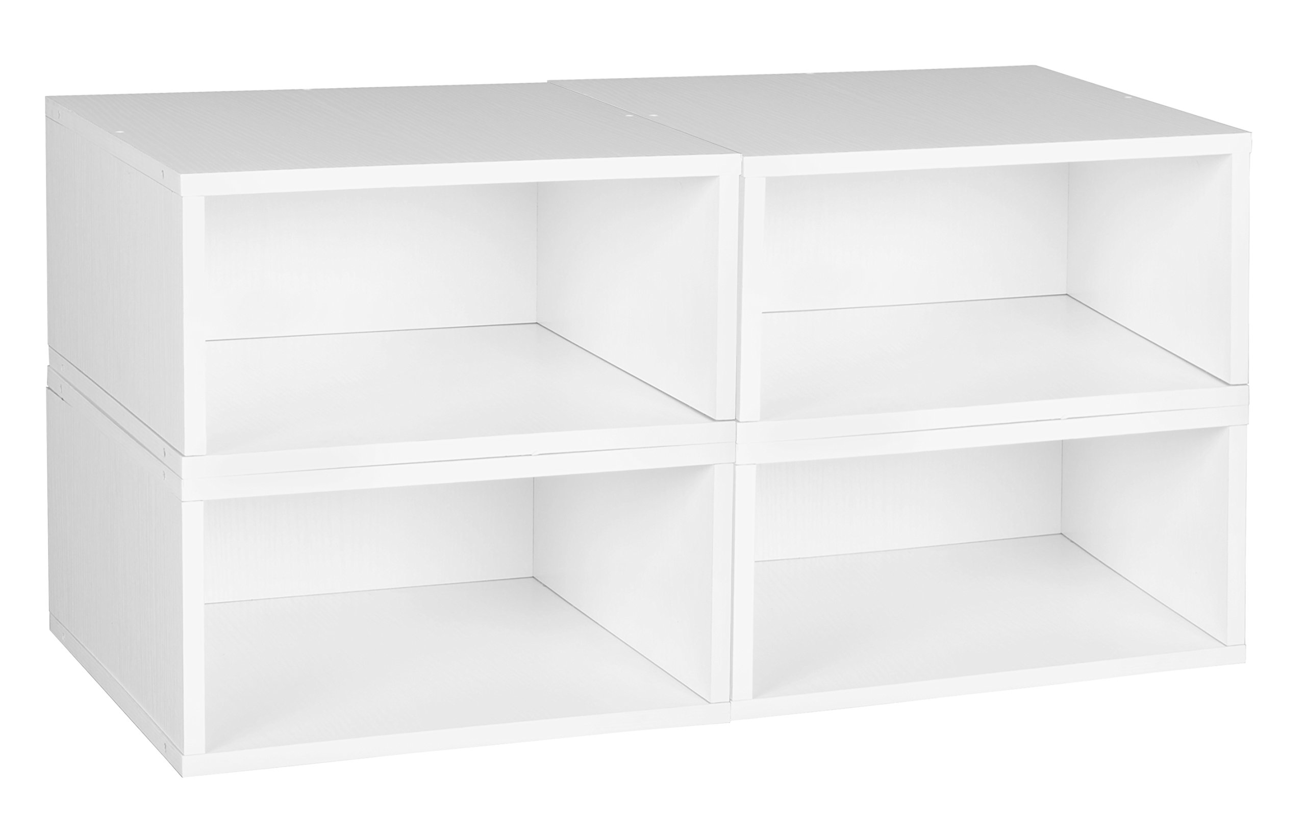 Niche PC064PKWH Cubo Storage Set 4 Half Size Cubes, White Wood Grain