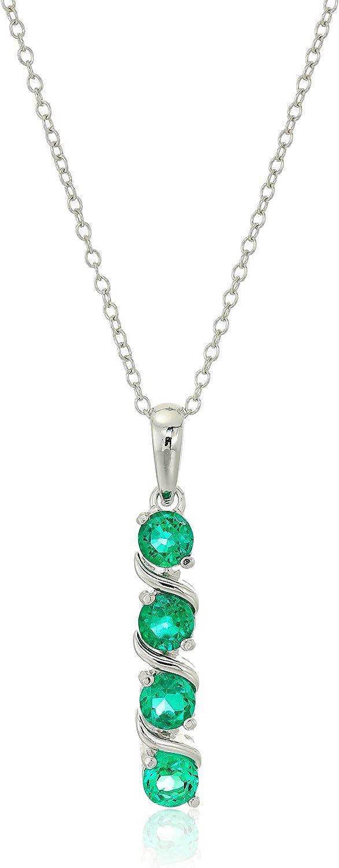 Collar con colgante de plata de ley con 4 piedras auténticas o creadas (4 mm), 18 pulgadas,Verde