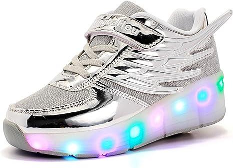 Mr.ANG luces LED parpadeantes Roller Skates – Zapatos de deporte Niños Chicos Y Chicas – Zapatos de Skate con los zapatos de Skate Ont una rueda con alas zapatillas de running, Niño,