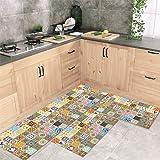 Jogo Tapete de Cozinha Mosaique Amarelo 3 Peças Com Antiderrapante