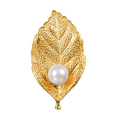 FOCALOOK Brooches for Women,18K Gold Plated Pearl Jewellery 3D Lovly Cat/Bee animal Brooch Pin